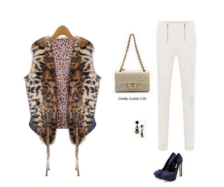 2015 popular in alibaba fashion spliced leopard print vest coat