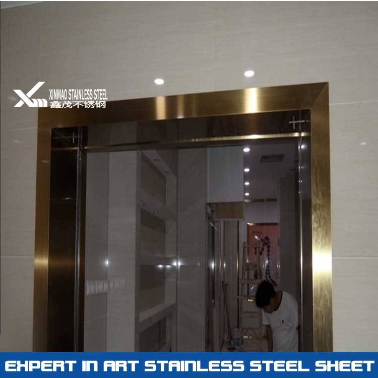304 hairline stainless steel door frame for commercial decoration
