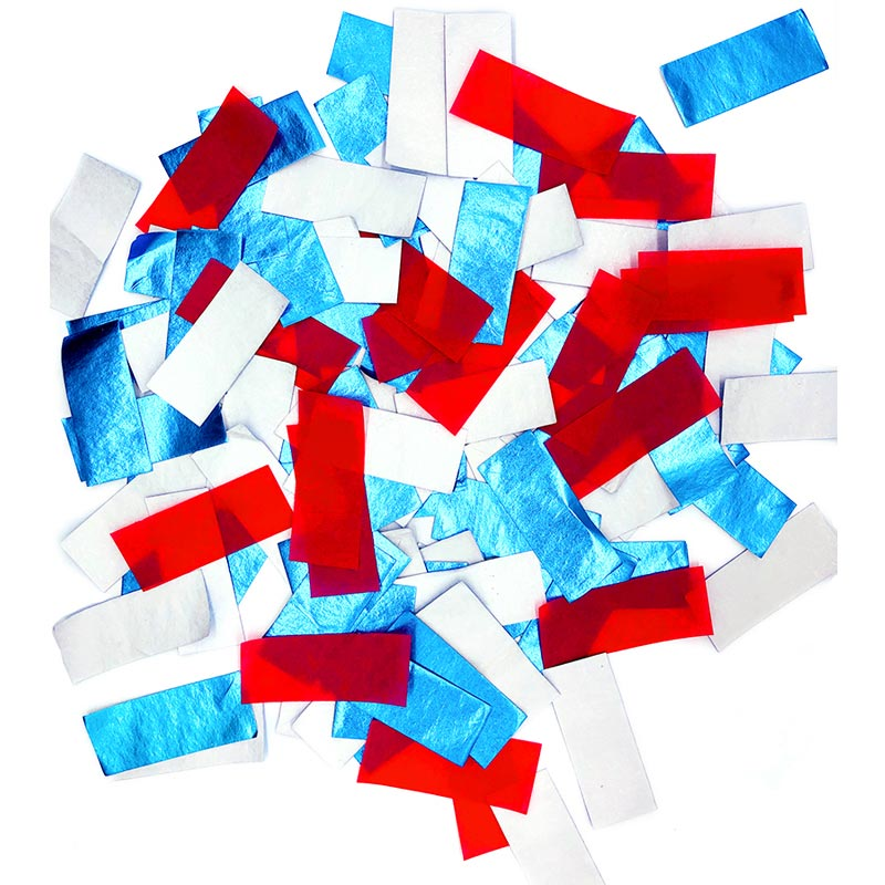 patent new products SHINY BLUE+WHITE+RED SLIPS 100% biodegradablefor confetti popper