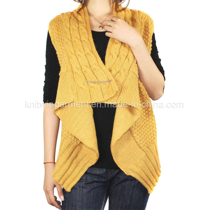 Fashion European ladies dress with cable knitting in sleeveless