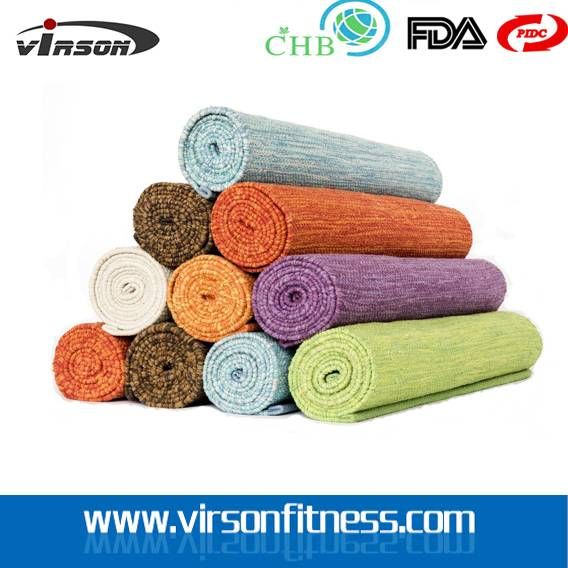 Natural rubber fitness jute wide yoga mat