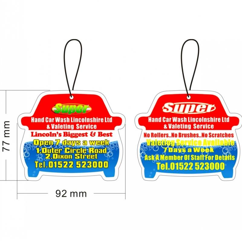 Customized Paper Car Air Freshener for car wash promotion