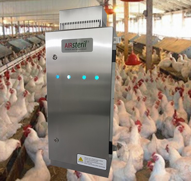 UV ozone generator for poultry chicken farm odor odour airborne diseases control