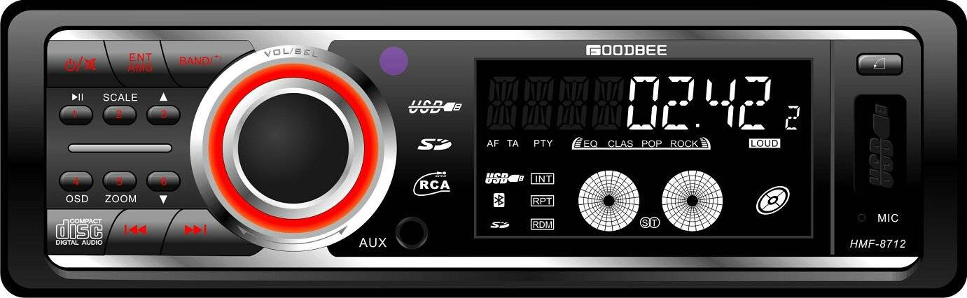 Detachable Panel Car CD,MP3 Player HMF-8712