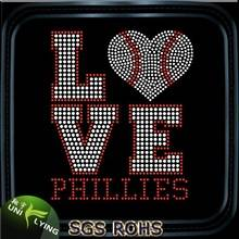 Bling love baseball hot fix rhinestone motifs