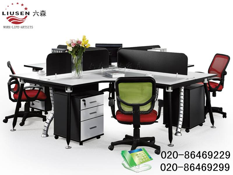 Hot Sale 4 Cross Seaters Black, Elegant and Environmental Protection Office Workstation (LS-0013)