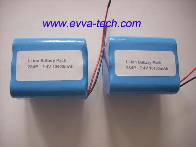 Battery Pack with 18650 7.4V 10400mAh 2S4P