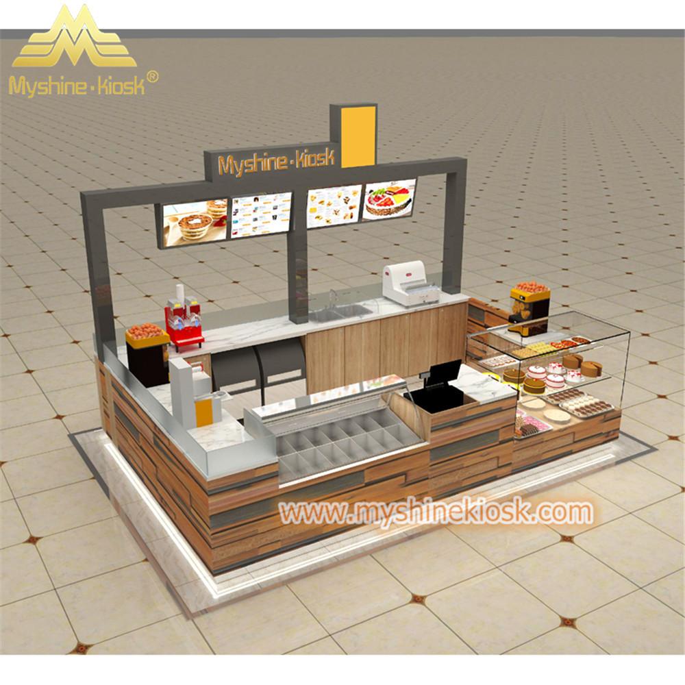 Custom Modern Shopping Mall Retail Wooden Food Kiosk Supplier