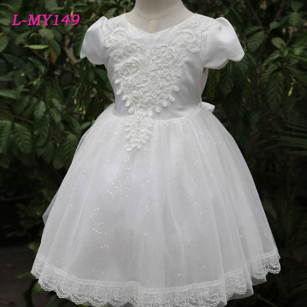Elegant white chiffon appliqued flower girl net dresses bling sequins bridal dress children party we