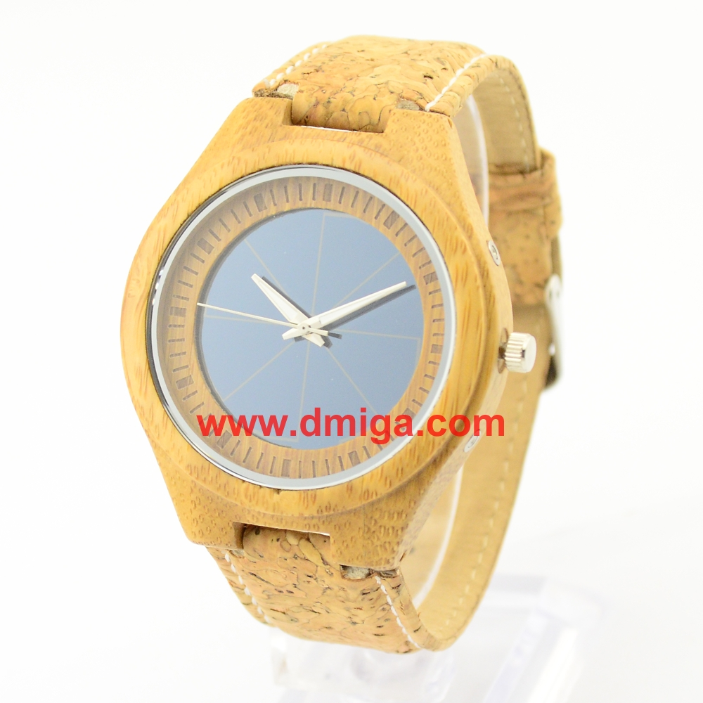Solar bamboo watch with cork strap vogue bamboo wood watch