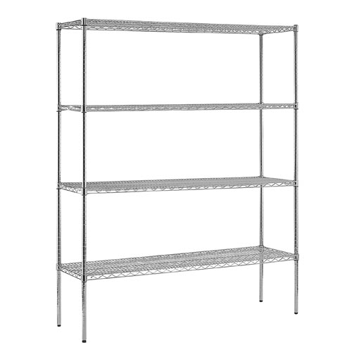 4 Layers Steel Wire Shelf 48inchesx18inchesx72inches Chrome Plated