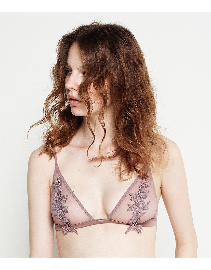 Embroidered Thin Bra Womens Non-Padded Thin Bras Underwire Bralette Lingerie