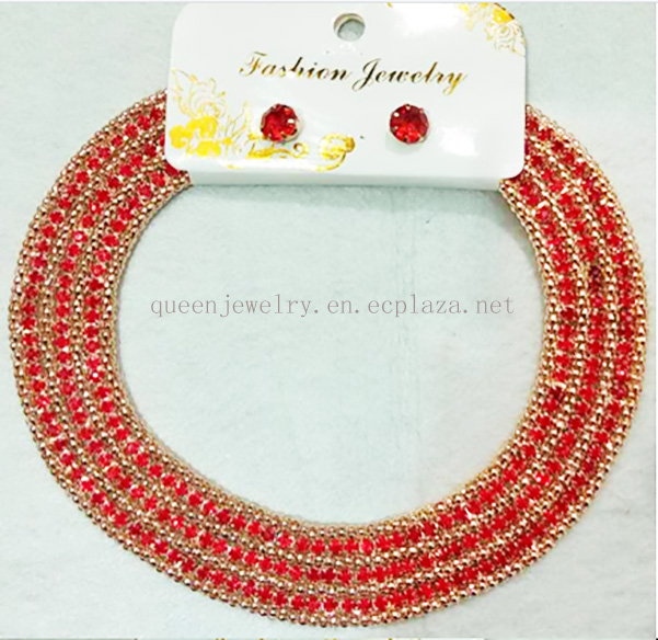 Classic rhinestone jewelry for women bridal fashion jewelry set and man made diamond collar necklace
