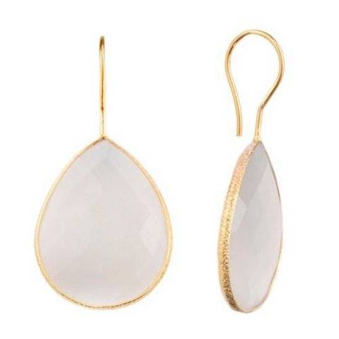 925 sterling silver White Chalcedony Gemstone Earring-Vermeil Gold