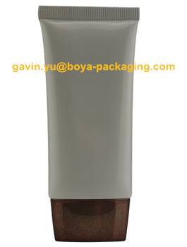 Large volume plastic tube for cosmetic with flat screw cap