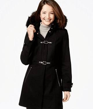 Faux fur hood Woolen Coat
