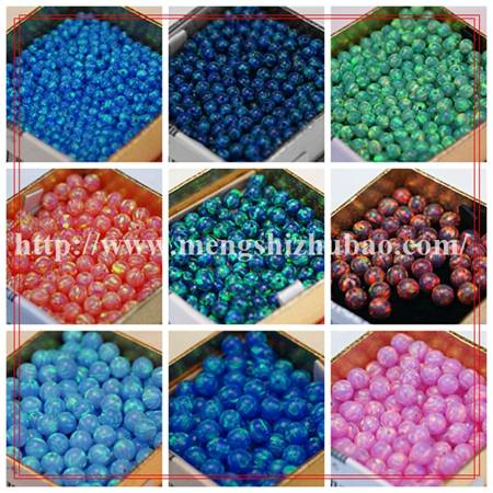 wholesale price 8mm round snow & fire white synthetic opal beads
