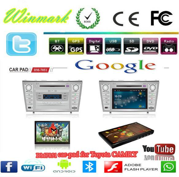 7inch special car DVD player for camry DM7851C with detachable tablet of android4.0 OS and Win CE 6.