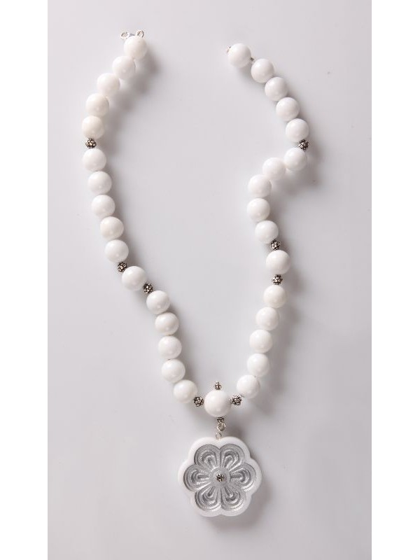 Necklaces Exafylou rosette of Pentelic marble beads Pentelic marble and silver 925