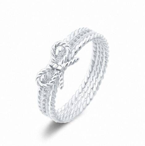 Special price pretty micro inlay Austrian crystal bowknot girls silver plated ring