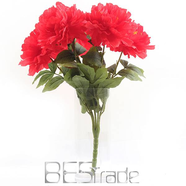 power supply artificial flower cheap wholesale 5 head peony for home decoration
