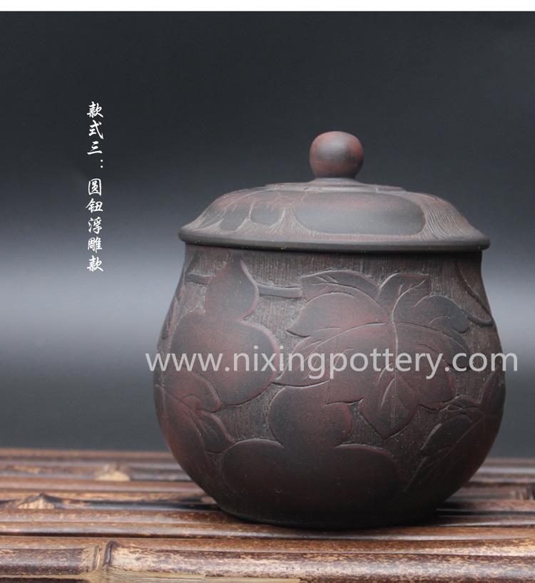 Handmade Jar Nixing Tea Caddy Pottery Pure Clay Tea Canister