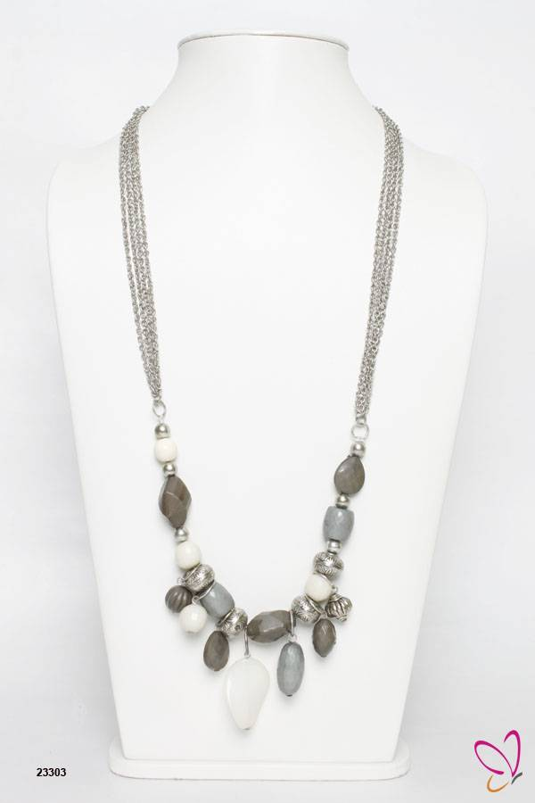 Acrylic and Metal Beaded Necklace, Trendy Necklace