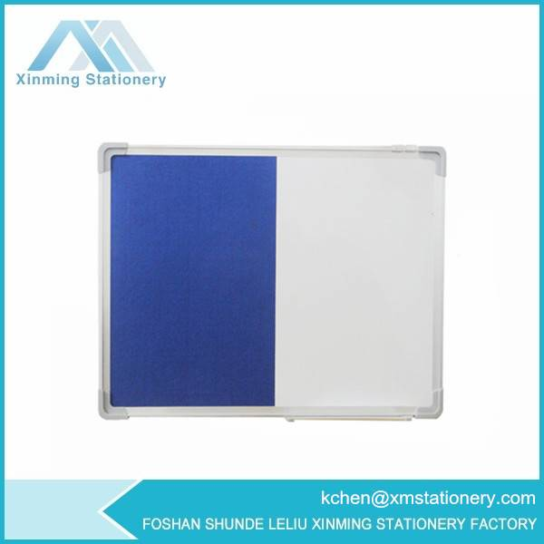 half magnetic whiteboard half felt board with aluminum frame