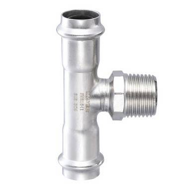 Stainless Steel Tee with male thread Pipe Fitting