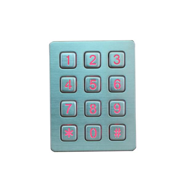 Industrial waterproof IP65 gate opener brushed metal keypad backlit keypad
