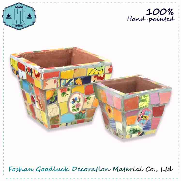 Hand Made Outdoor Colorful Decor Garden Flower Pot(29943)