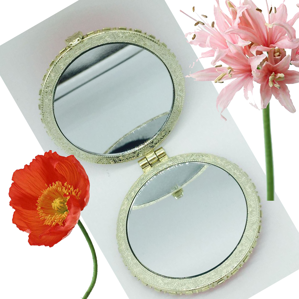 Butterfly Rose Pattern Ladies Makeup Mirror, Double Side Pocket Mini Makeup Mirror