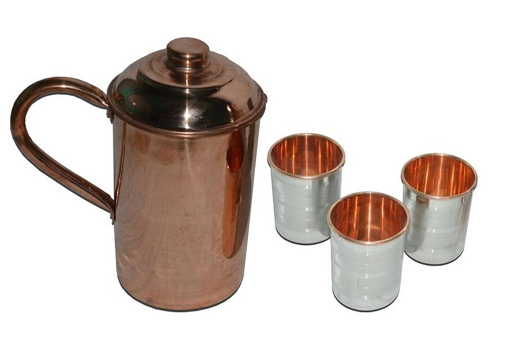 Raghav India 100% Genuine  Pure Copper Curved Jug 1.6 Litre Capacity + 3 Stylish Design  Stainless S