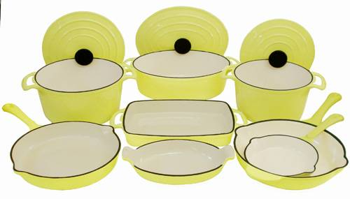 11 Piece Enameled Cast Iron Yellow Cookware Set