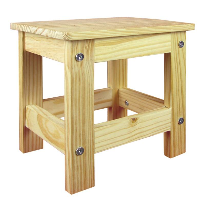 Wooden Stool - Solid Unfinished Pine.