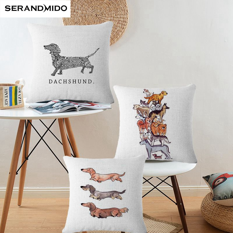 Cute Cushion Cover 4545cm Dachshund Home Decorative Pillows French Bulldog Throw Pillow Cover