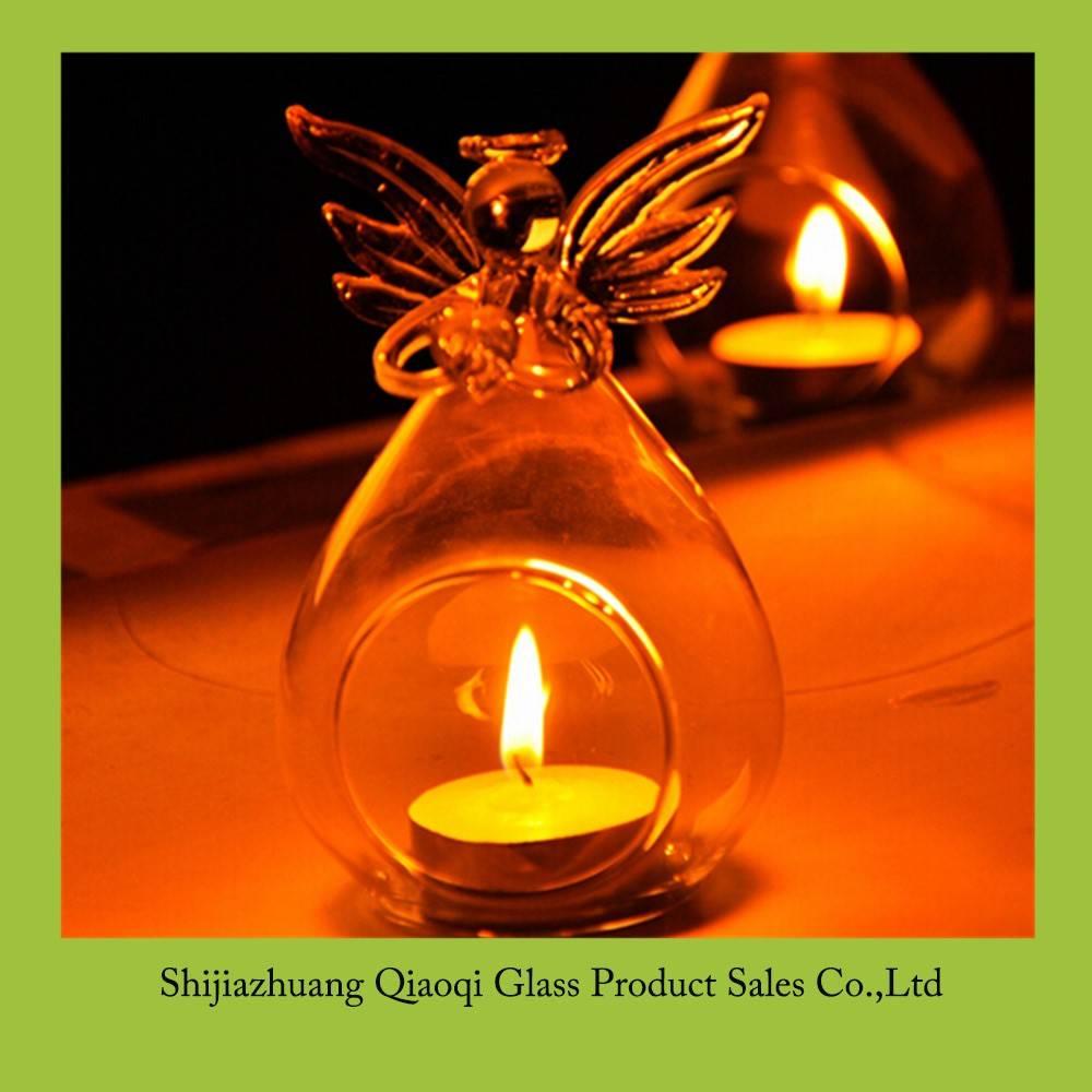 Transparent crystal glass angel candlestick
