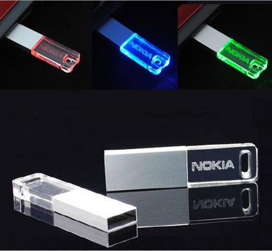 Genuine 8GB Mini USB Flash Drive Transparent Crystal Glitter Pendrive
