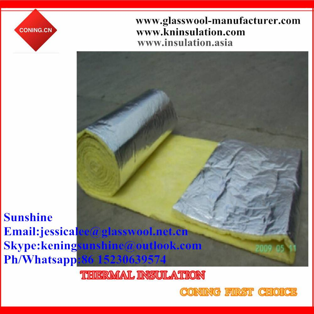 Wholesale fsk reinforced aluminum foil facing glass wool /Glass wool roll FSK insulation