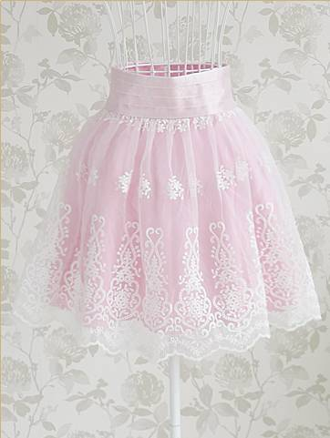 SK090 EMBROIDERY LACE HIGH WAIST SKIRT