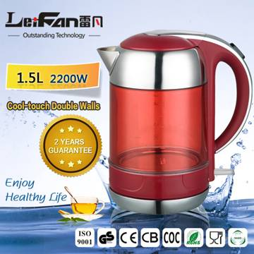 transparent glass electric kettle from factory