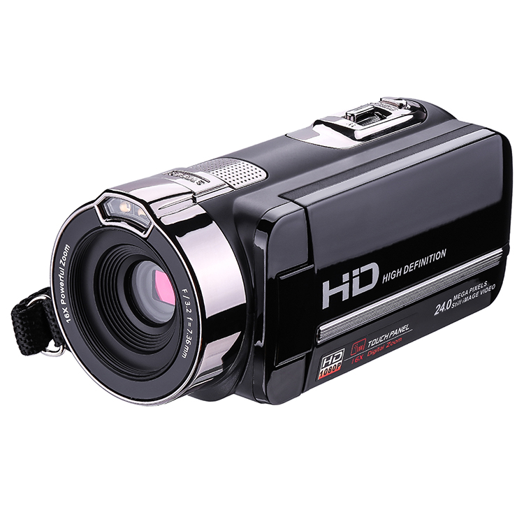 black hand held video camera with wifi function touch screen IR