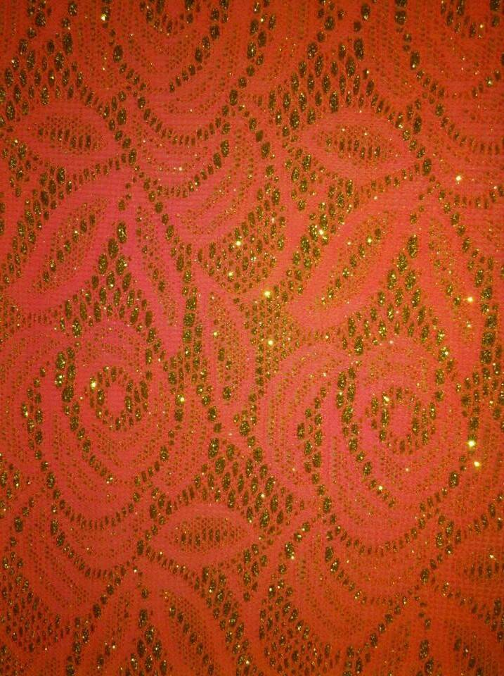 100% nylon lace fabric with gold thread