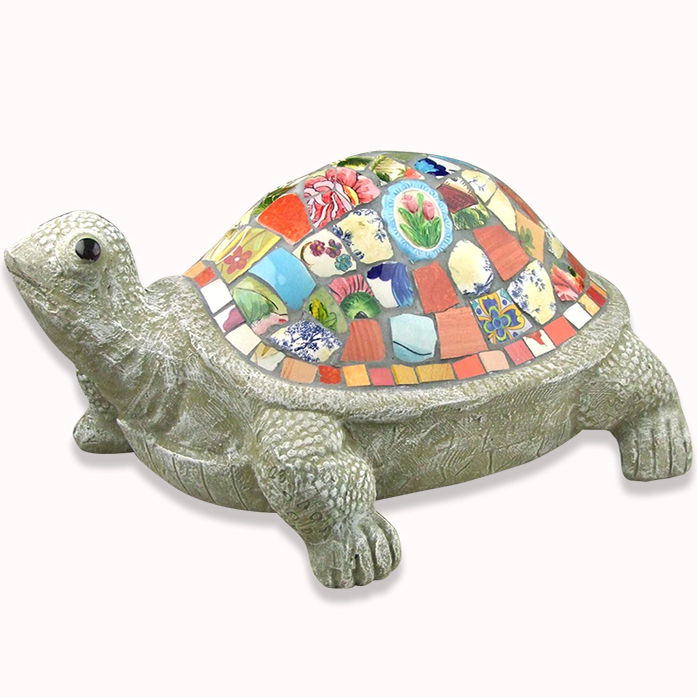 Hand Crafted Colorful Mosaic Garden Decor Turtle Ornament