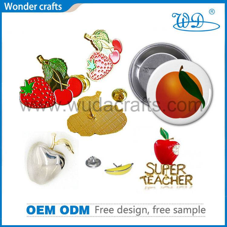 Fruit shape die cast iron imitation gold silver plating soft enamel butterfly pin button badges