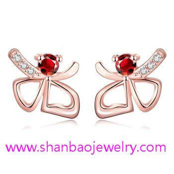 Gold Plated Costume Fashion Zircon Jewelry Woman Earrings