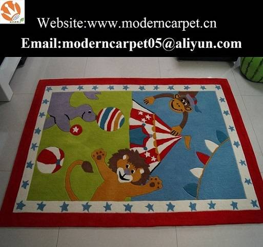 China Hand Tufted Acrylic Cartoon Design Kids Room Rugs