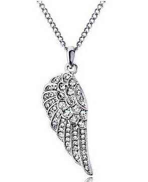 Fashion Women Crystal Wing Pendant Necklace Jewelry