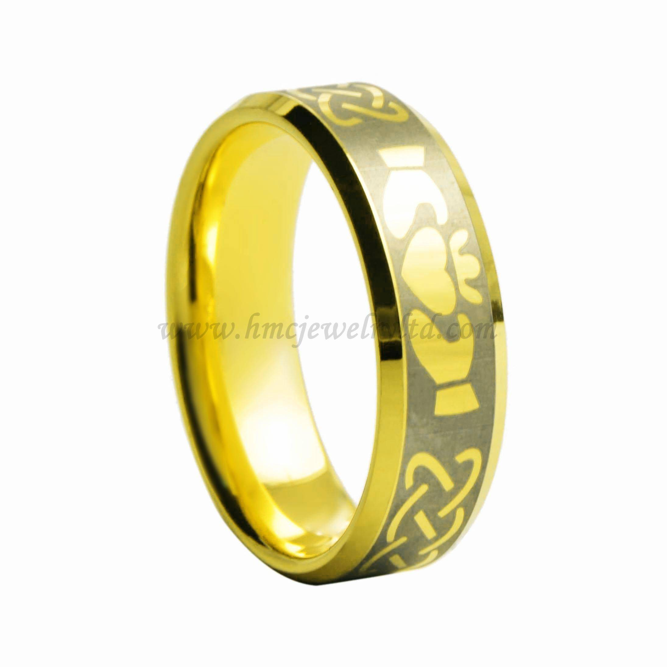 Gold Plated Tungsten Carbide Love Band Rings, Tungsten Carbide Claddagh Ring
