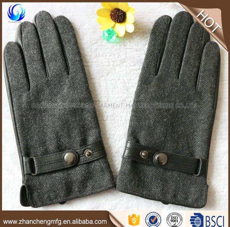 Fashion cheap men winter warm sheepskin leather palm wool gloves